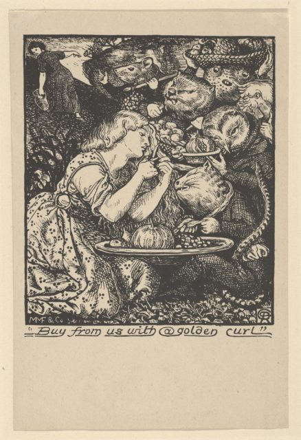 """Buy from Us with a Golden Curl (frontispiece to """"Goblin Market and other Poems"""" by Christina Rossetti)"""