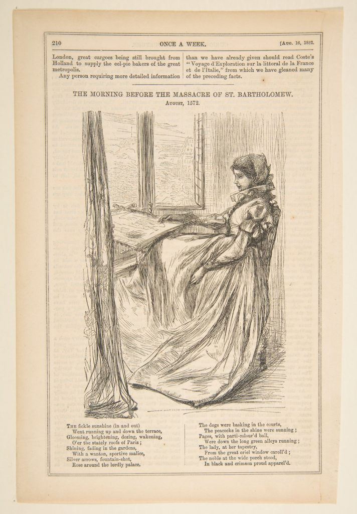 """Illustration to 'The Morning Before the Massacre of St. Bartholomew"""" (Once a Week, August 16, 1862)"""
