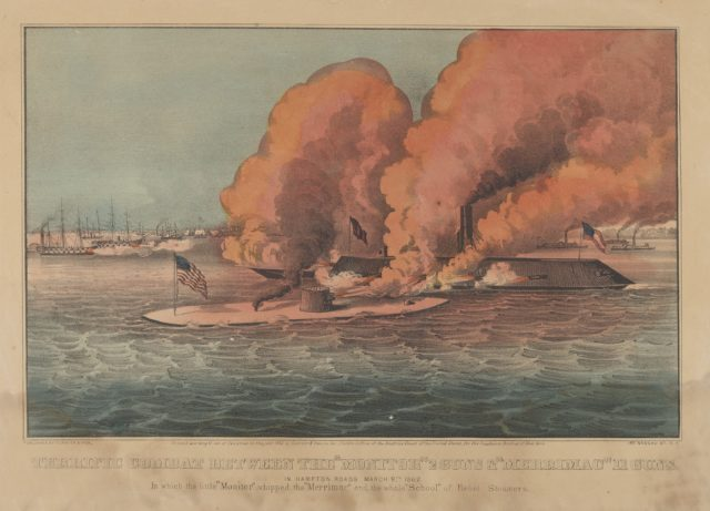 """Terrific Combat Between the """"Monitor"""" 2 Guns & """"Merrimac"""" 11 Guns – In Hampton Roads March 9th, 1862 – In which the little """"Monitor"""" whipped the """"Merrimac"""" and the whole """"School"""" of Rebel Steamers"""