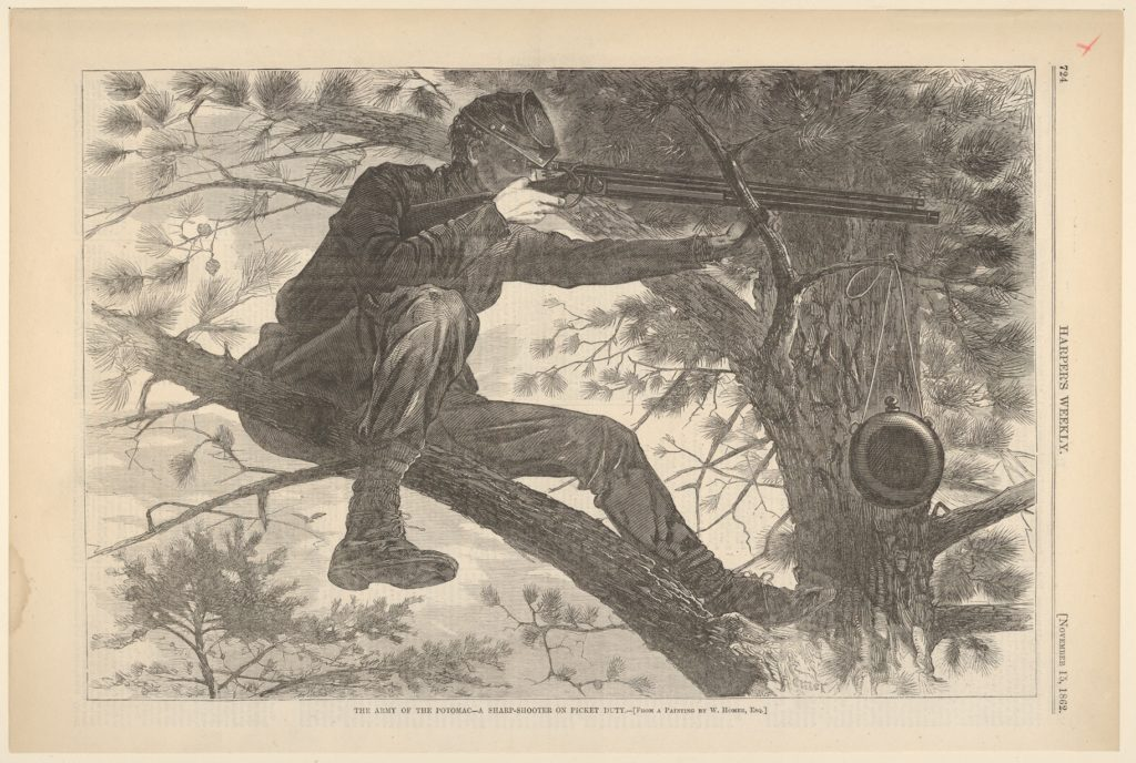 The Army of the Potomac – A Sharp-Shooter on Picket Duty – From a Painting by Winslow Homer, Esq. (Harper's Weekly, Vol. VII)