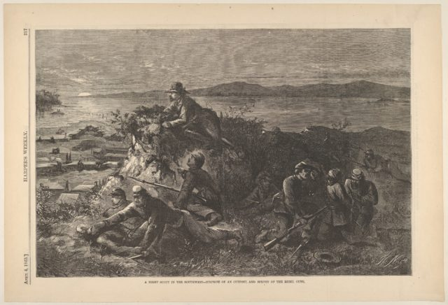 A Night Scout in the Southwest – Surprise of an Outpost, and Survey of the Rebel Guns (from Harper's Weekly)