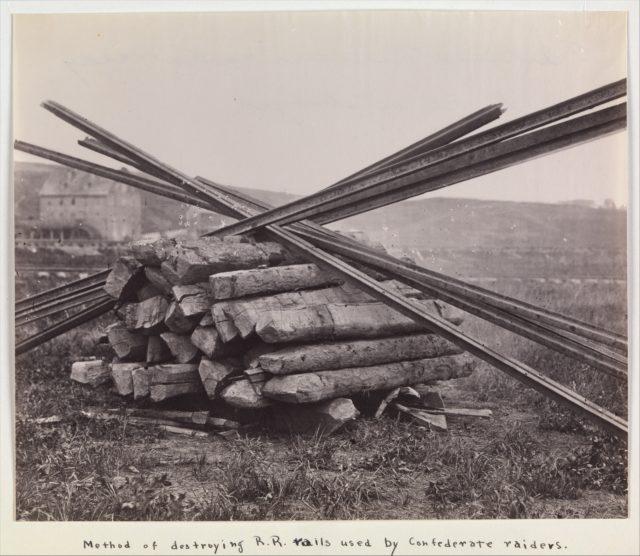 Confederate Method of Destroying Rail Roads at McCloud Mill, Virginia