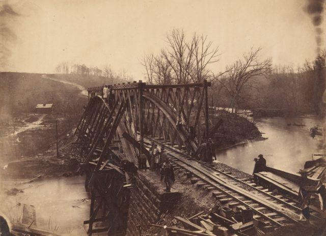 Part of Construction Corps Building New Military Truss Bridge Across Bull Run