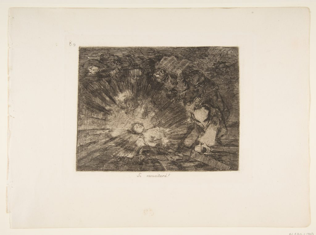 Plate 80 from 'The Disasters of War' (Los Desastres de la Guerra): 'Will she rise again?' (Si resucitará?)