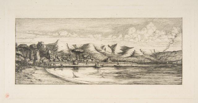 Presqu'île de Banks, Pointe des Charbonniers, Akaroa (Seine fishing off Colliers' Point, Akaroa, Banks Peninsula, 1845)