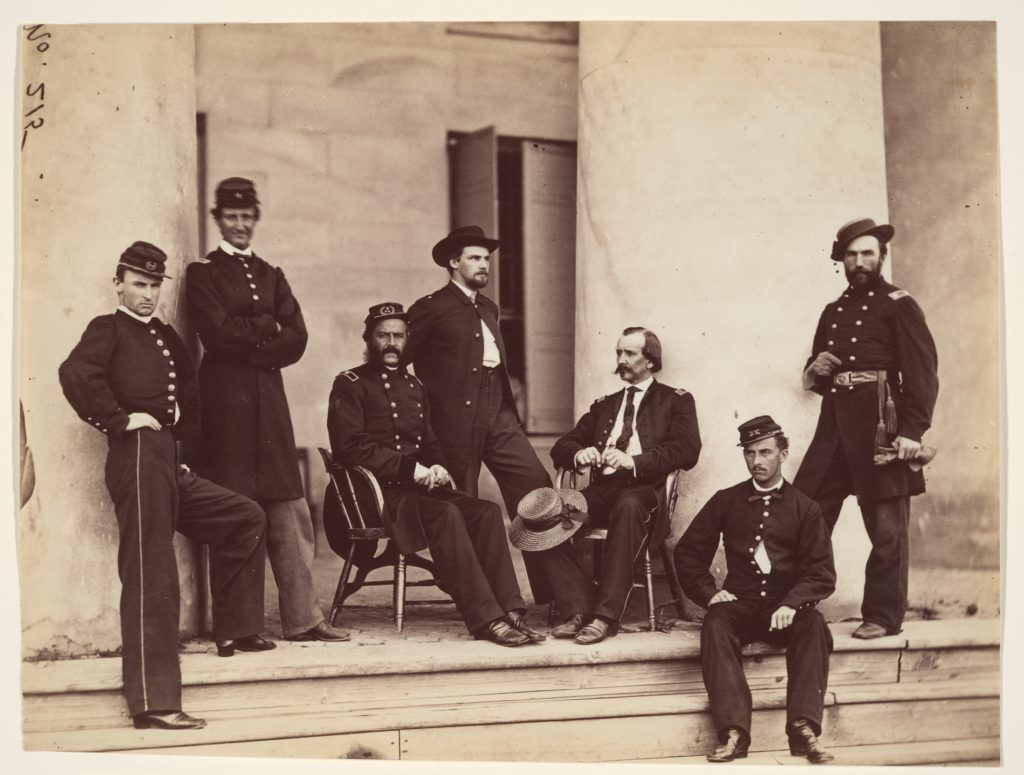 Brigadier General Gustavus A. DeRussy and Staff on Steps of Arlington House, Arlington, Virginia