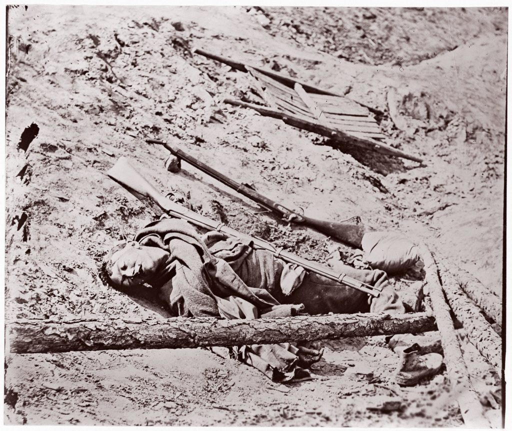 Dead Confederate Soldier at Fort Mahone, Petersburg