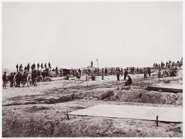 Outer Confederate Line at Petersburg. Captured by 18th Corps, June 15, 1864