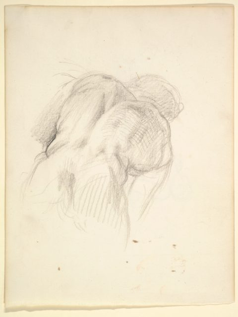 "Study for a Male Figure in ""Comus–The Measure"" (recto); Reclining Male Nude (verso)"