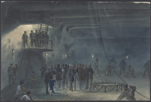Coiling the Cable in the After-tank on Board the Great Eastern at Sheerness: Visit of H.R.H. the Prince of Wales on May 23rd, 1865