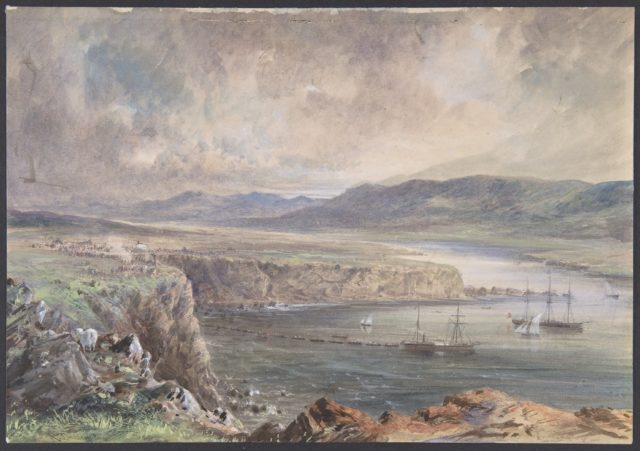 Foilhummerum Bay, Valentia, Looking from Cromwell Fort: The Caroline and Boats Laying the Earth Wire, July 21st, 1865