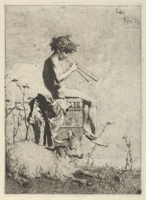 Idyll: a naked youth seated outdoors on a plinth playing a double flute, a goat on the ground before him