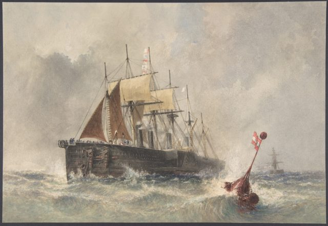 Launching the Buoy from the Bow of the Great Eastern on August 8th, 1865