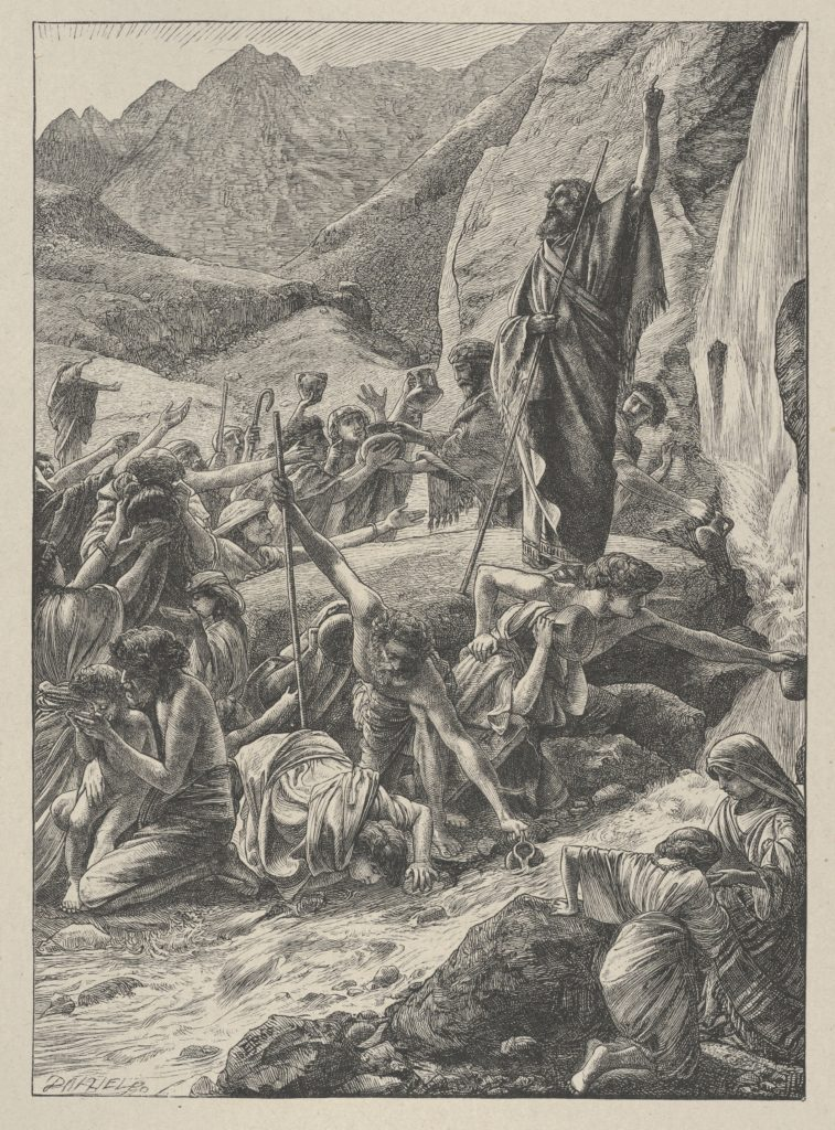 Moses Strikes the Rock (Dalziels' Bible Gallery)