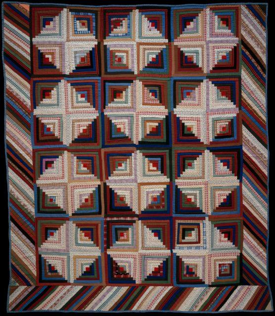 Quilt, Log Cabin pattern, Light and Dark variation