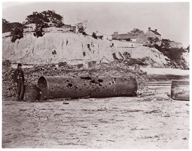 "Smokestack of Confederate Ram Merrimac at Richmond/Remains of Ironclad Ram ""Virginia #2"", April, 1865"