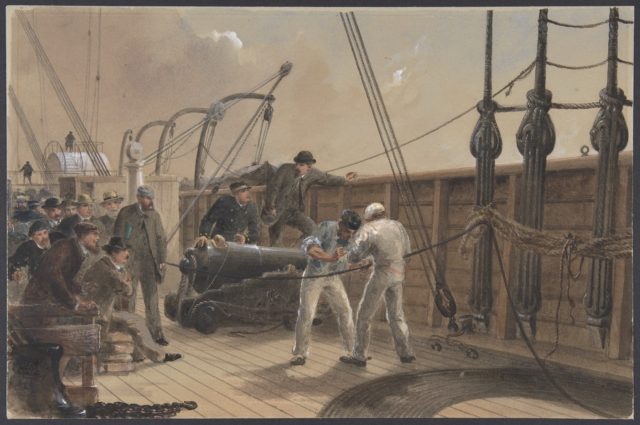Splicing the Cable (after the First Accident) on Board the Great Eastern, July 25th, 1865