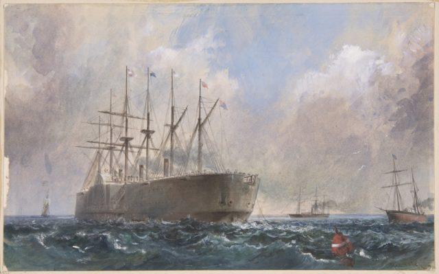 Telegraph Cable Fleet at Sea, 1865