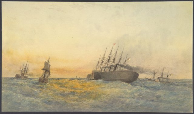 The Great Eastern Under Weigh, July 23rd, 1865: Escort and other Ships, H.M.S. Terrible, H.M.S. Sphinx, The Hawk and Revised: The Caroline