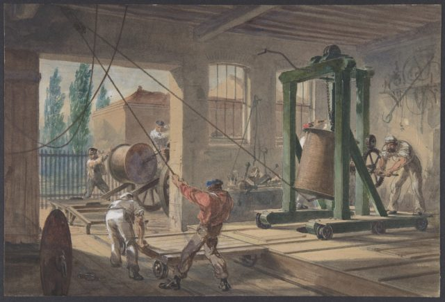 The Reels of Gutta-percha Covered Conducting Wire Conveyed into Tanks at the Works of the Telegraph Construction and Maintenance Company, at Greenwich