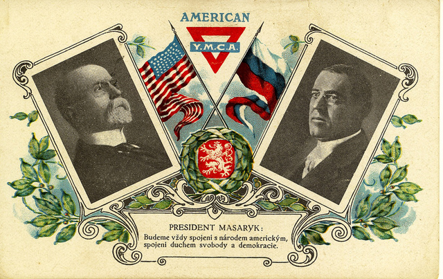 YMCA Card of Masaryk and Wilson