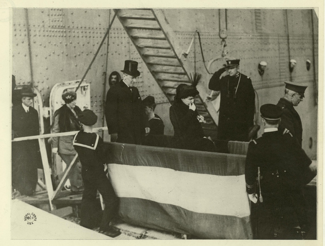 Wilson Disembarking U.S.S. George Washington