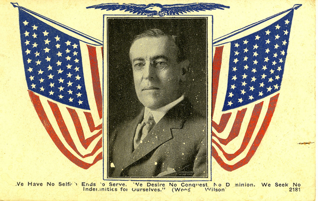 Woodrow Wilson and American Flags