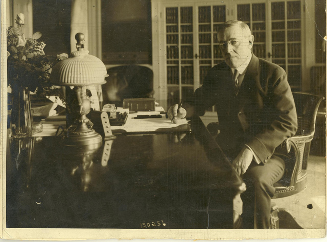 President Wilson at His Desk in the White House