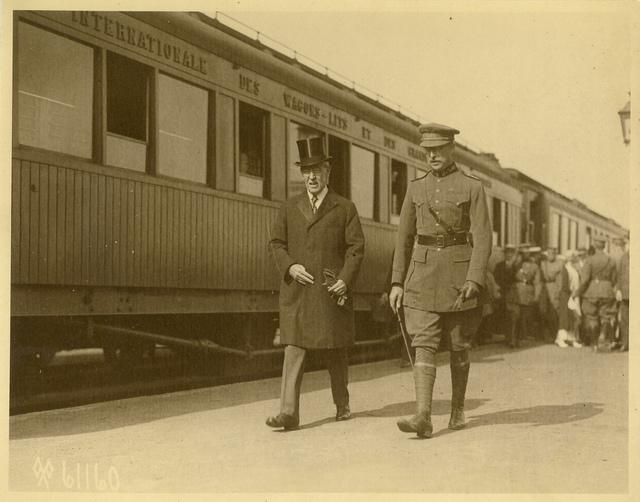 Wilson and King Albert in Adinkerke, Belgium