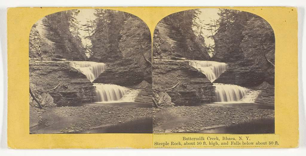 Buttermilk Creek, Ithaca, N.Y. Steeple Rock, about 50 ft. high, and Falls below about 50 ft.