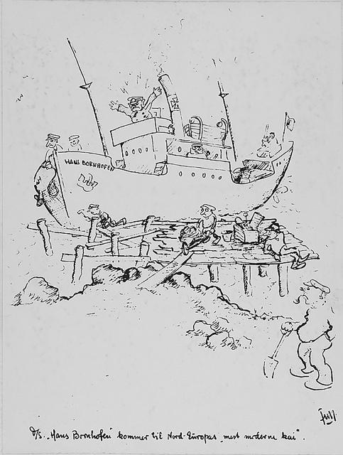 """Foto av tegning: D/S """"Hans Bornhofen"""" kommer til Nord-Europas """"mest moderne kai"""". Trykt tekst: Unter diesem Motto stand die Reise."""