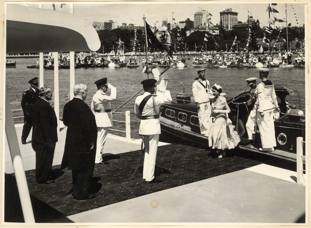Queen Elizabeth the Second alighting the Royal Barge in Sydney Harbour 1954]