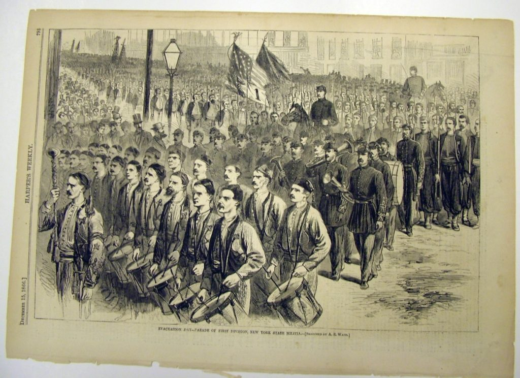 Evacuation Day Parade of First Division, New York State Militia, newspaper illustration