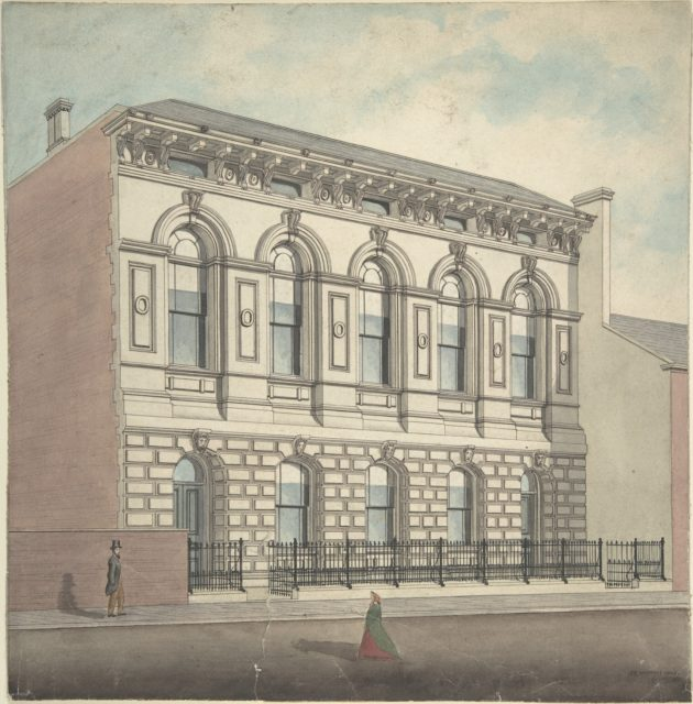 Perspective elevation, from left, of stonefaced building of five bays and two stories