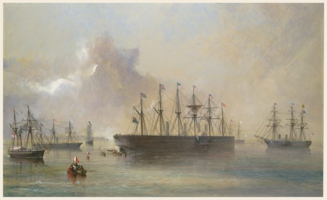 The Atlantic Telegraph Cable Fleet Assembled at Berehaven (Southwest Coast of Ireland): Ships, the Great Eastern, H.M.S. Terrible, the Alby, the Medway and the William Cory