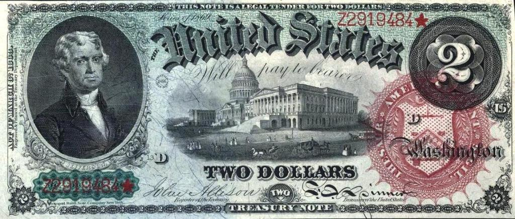 Two Dollars Bill, 1866