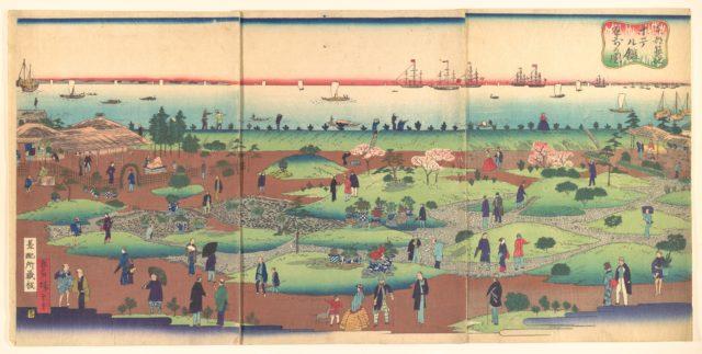 Illustration of the Front Garden of the Tsukiji Hotel in the Eastern Capital  (Tōto Tsukiji hoteru kan niwa mae no zu)