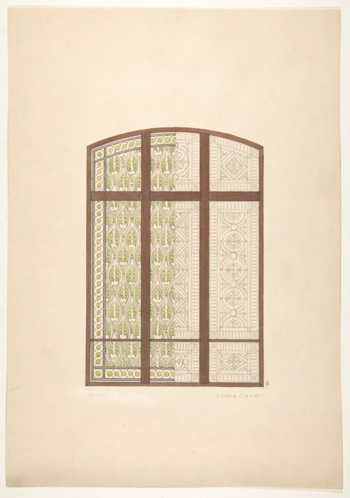 Design for an arched stained glass window, showing two alternative patterns