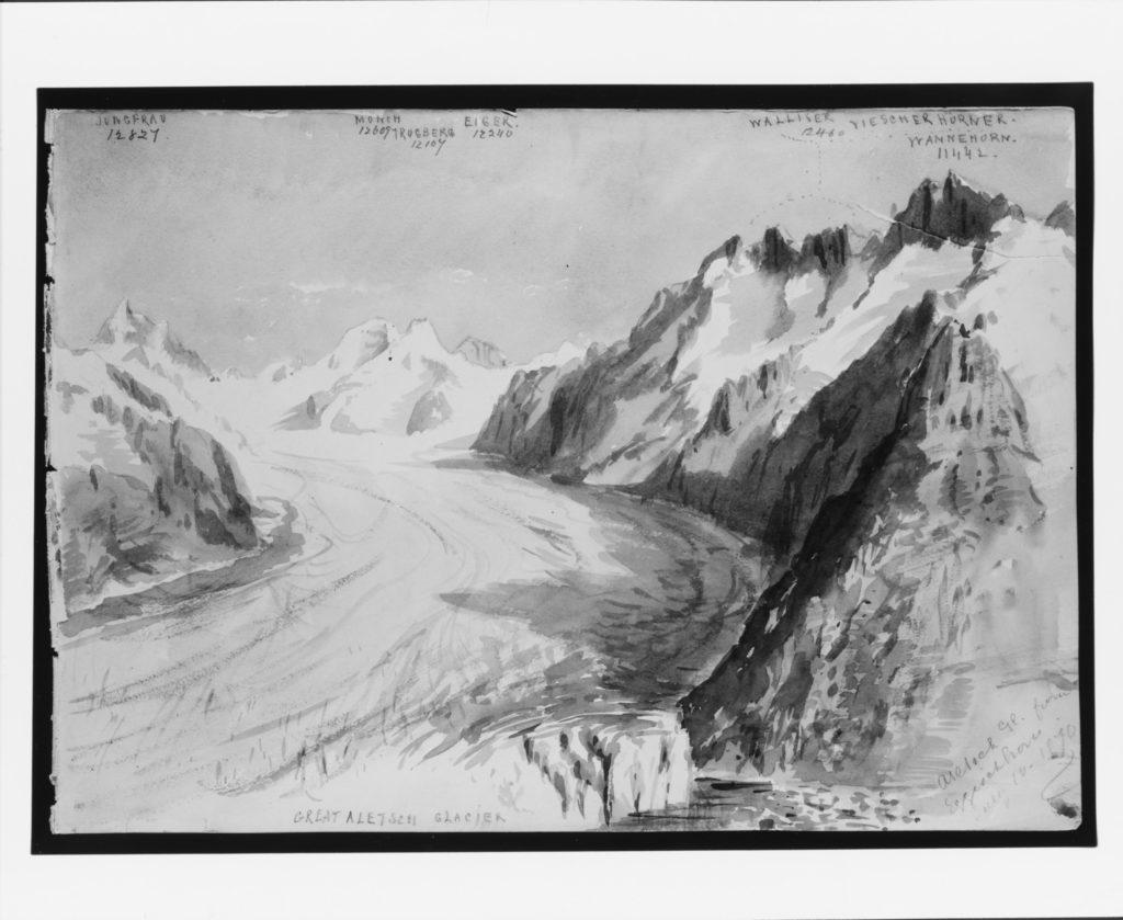 """Aletsch Glacier from Eggishorn (from """"Splendid Mountain Watercolours"""" Sketchbook)"""