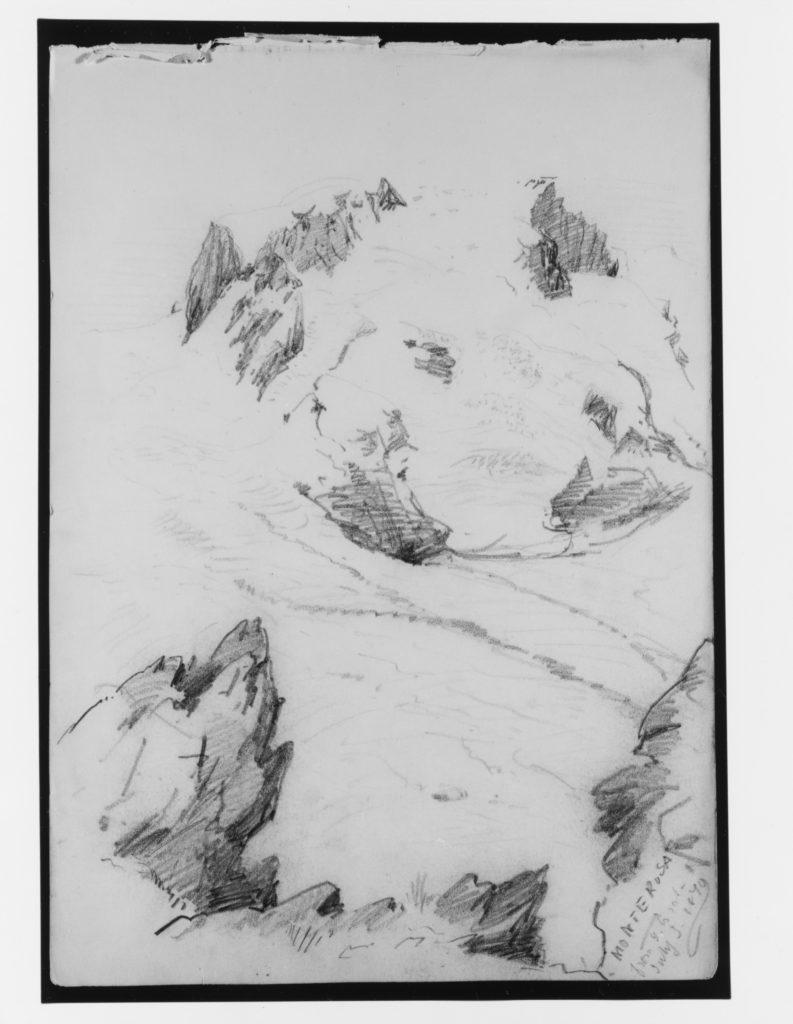 """Monte Rosa from Gorner Grat (from """"Splendid Mountain Watercolours"""" Sketchbook)"""