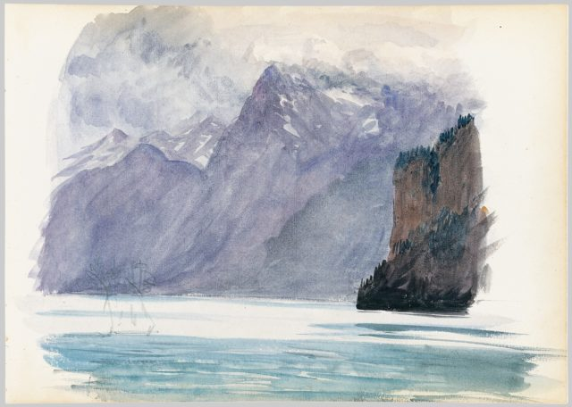 Mountain Lake (from Switzerland 1870 Sketchbook)