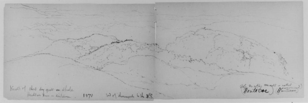 Shawangunk Mt., Catskills, 1871 (from Sketchbook)