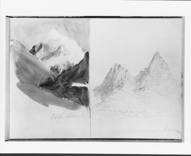 St. Gotthard and  Mythen, Brunnen (from Switzerland 1870 Sketchbook)