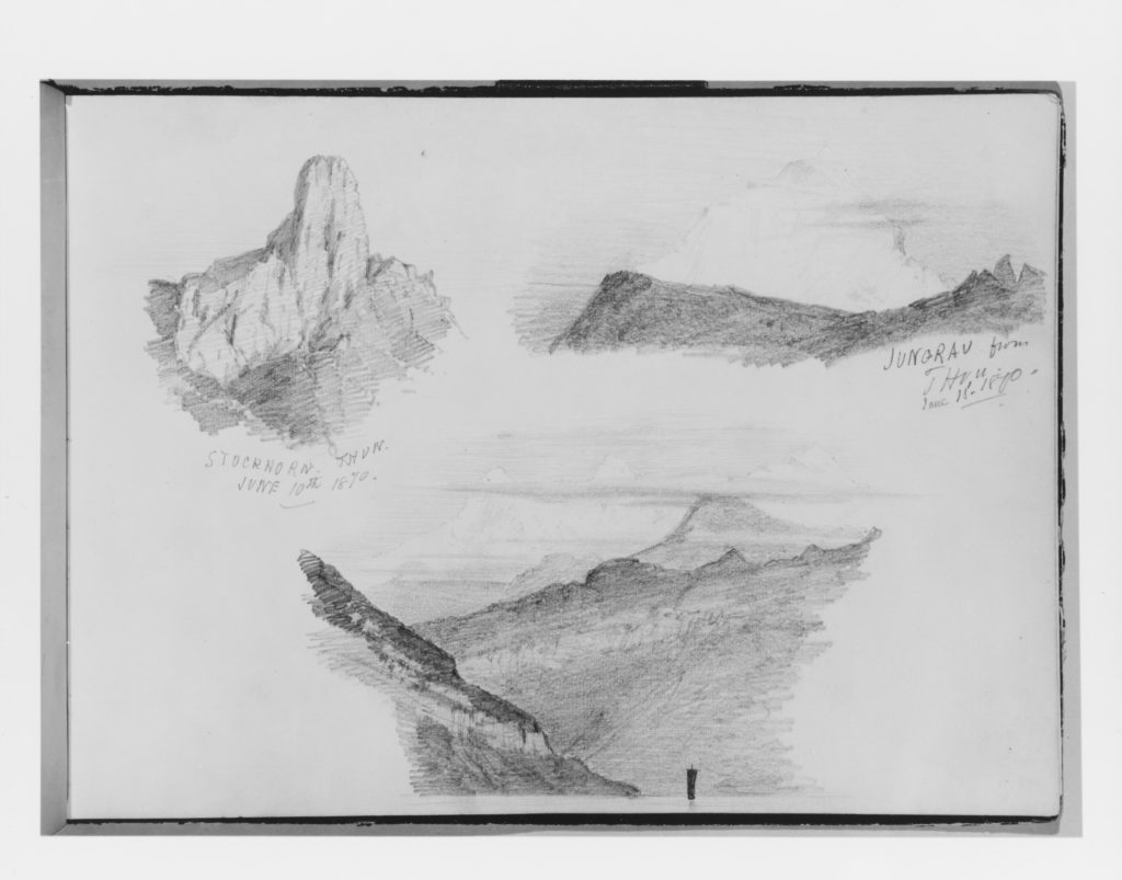 Three Views of the Bernese Oberland from Thun (from Switzerland 1870 Sketchbook)