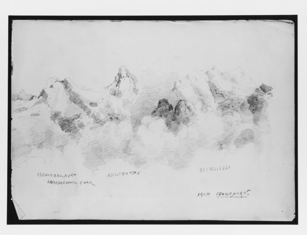 """View from Schilthorn (from """"Splendid Mountain Watercolours"""" Sketchbook)"""