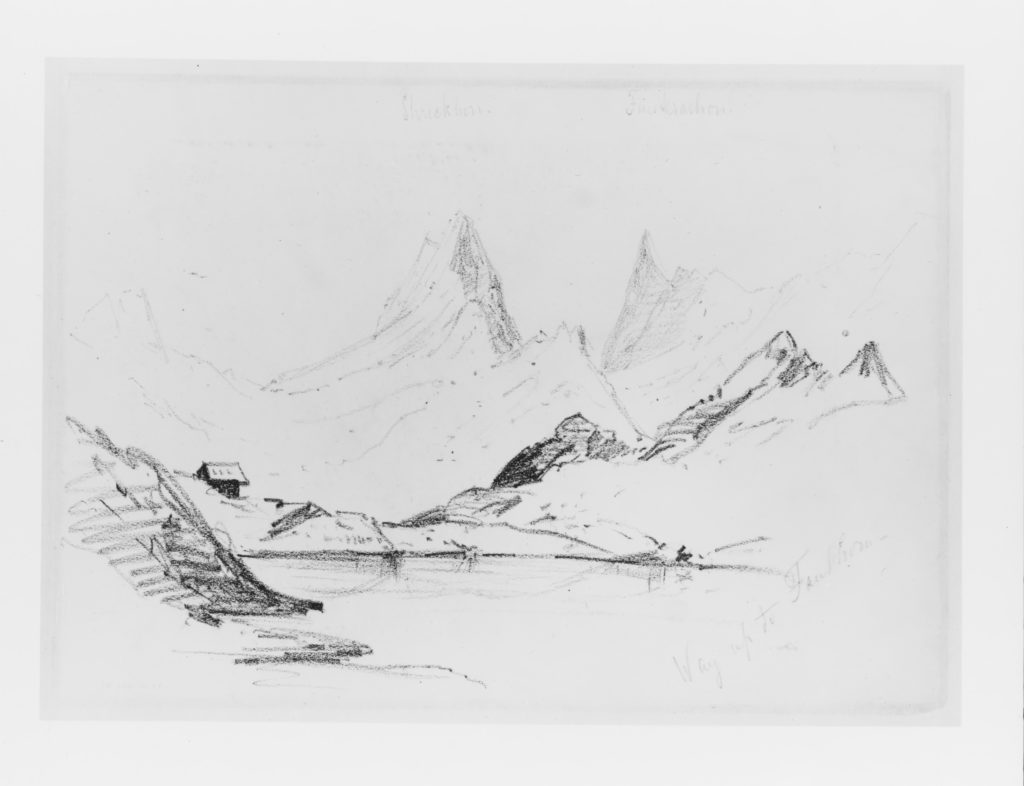"""View of the Schreckhorn and Finsteraarhorn on the Way up to Faulhorn (from """"Splendid Mountain Watercolours"""" Sketchbook)"""