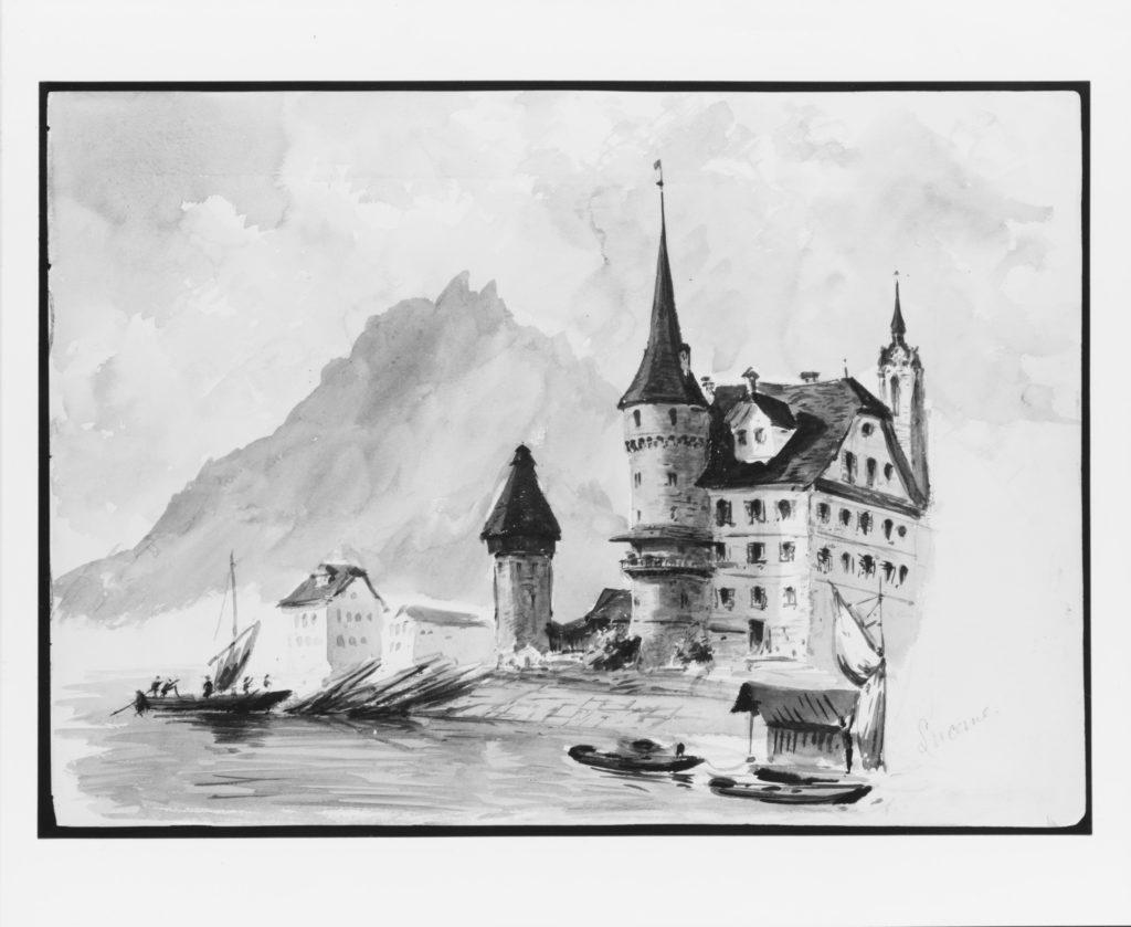 "Zur Gilgen House, Lucerne, recto (from ""Splendid Mountain Watercolours"" Sketchbook)"