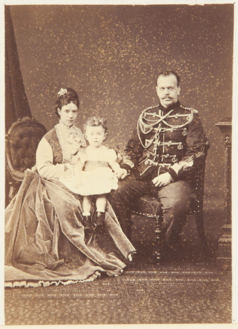 Tsarevich Alexander together with his wife Maria Feodorovna and Grand Duke Nikolai Alexandrovich