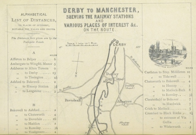 "map from ""Through the Peak, between London and Manchester. The Railway Traveller and Tourist's Guide between London and Manchester, viâ Derby, Matlock, and Buxton, etc"""