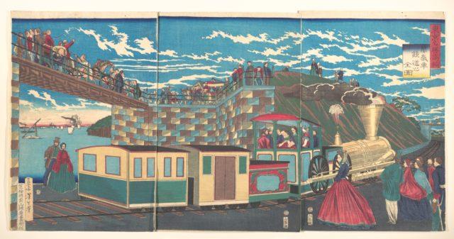 Illustration of Steam Locomotive Tracks at Takanawa, from the series Famous Places in Tokyo  (Tōkyō meishō Takanawa-jōki kikansha no zen zu)
